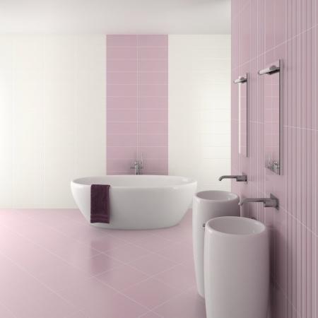 חדר אמבטיה עם קרמיקה בגוון וורוד